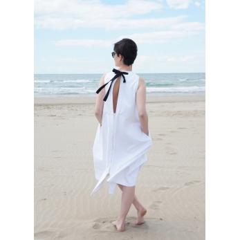 Robe longue nouée simple, jean blanc