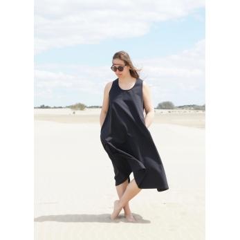 Robe longue nouée simple, jean noir