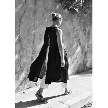 Robe longue nouée à plis, coton ajouré noir