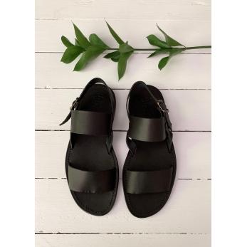 Sandales pour homme Thaizé, cuir noir