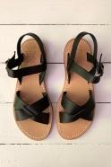 Sandales Pac, cuir noir