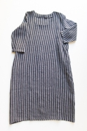 Long flared dress, 3/4 sleeves, squared neck, dark stripes linen