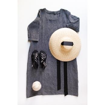 Long flared dress, 3/4 sleeves, squared neck, dark stripes linen