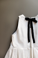 Pleated bow dress, white denim