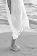 Robe-chemise à plis sans manches, lin blanc