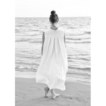 Sleeveless pleated shirt-dress, white linen