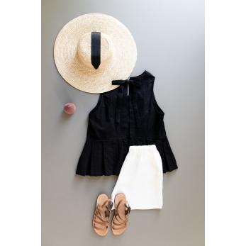 Blouse nouée à plis, coton ajouré noir