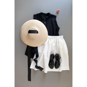 Sleeveless pleated shirt, black openwork cotton
