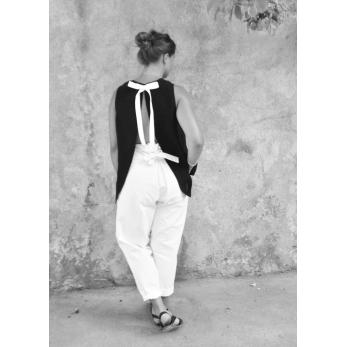 Simple bow top, black linen