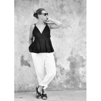 Strap top, black linen