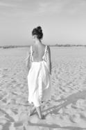 Long strap dress, white linen