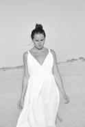 Robe longue à bretelles, lin blanc