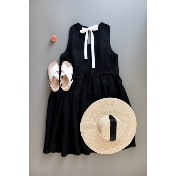 Pleated bow dress, black linen