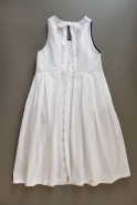 Long pleated bow dress, white openwork cotton