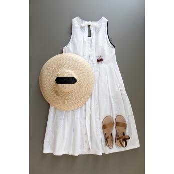 Robe longue nouée à plis, coton ajouré blanc