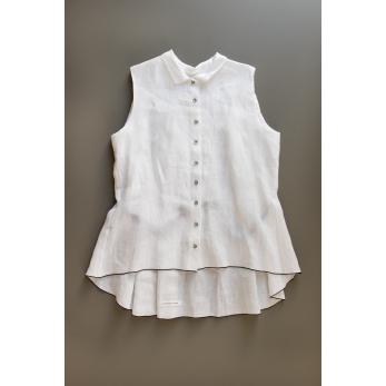 Chemise à plis sans manches, lin blanc