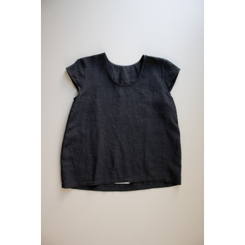 Short sleeves blouse U neck, black linen