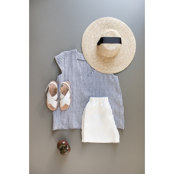 Short sleeves blouse, V neck, light stripes linen