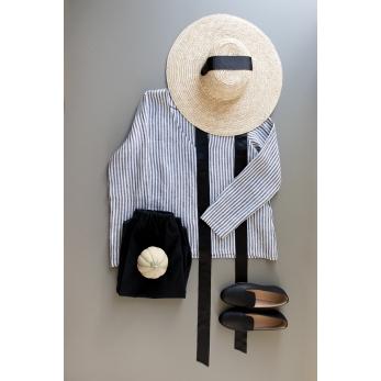 Long sleeves blouse V neck, light stripes linen
