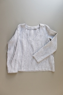 Long sleeves blouse V neck, light stripes linen