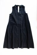 Robe longue nouée simple, coton ajouré noir