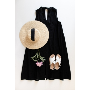 Long simple bow dress, black cotton