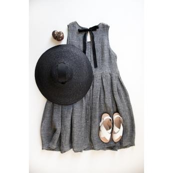 Pleated bow dress, grey linen