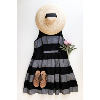 Pleated bow dress, black stripes linen