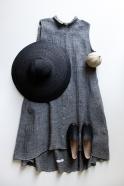 Robe-chemise à plis sans manches, lin gris