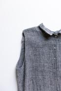 Sleeveless pleated shirt-dress, grey linen