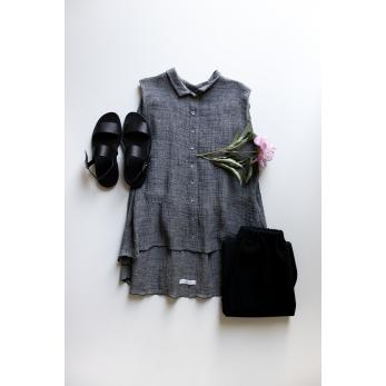Chemise à plis sans manches, lin gris