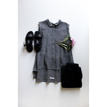 Sleeveless pleated shirt, grey linen