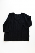 3/4 sleeves blouse U neck, black linen