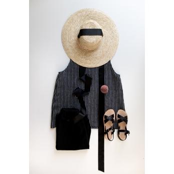 Sleeveless blouse squared neck, dark stripes linen