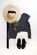 Short sleeves blouse squared neck, dark stripes linen