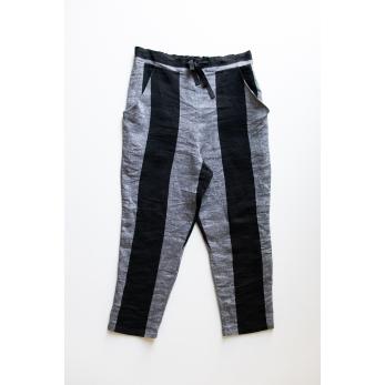 Pantalon à poches, lin rayures noires