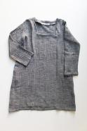 Robe évasée manches longues, col carré, lin gris