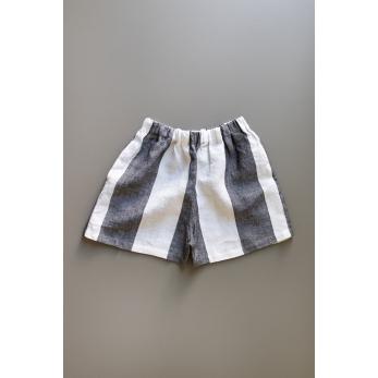 Short, white stripes linen