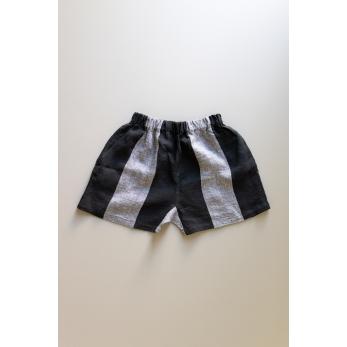 Short, black stripes linen