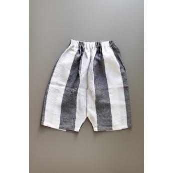 Unisex short, white stripes linen