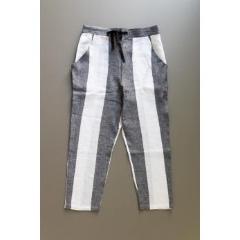 Pantalon à poches, lin rayures blanches