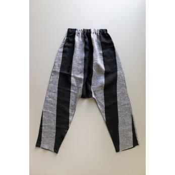 Pantalon sarouel, lin rayures noires