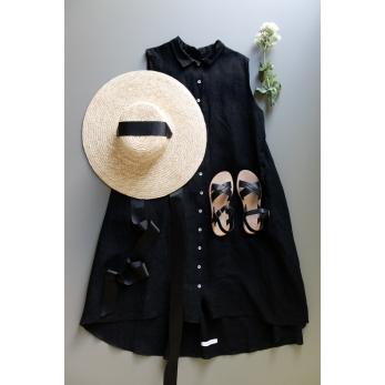 Sleeveless pleated shirt-dress, black linen