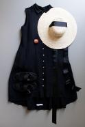 Robe-chemise à plis sans manches, lin noir