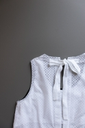 Long simple bow dress, white openwork cotton