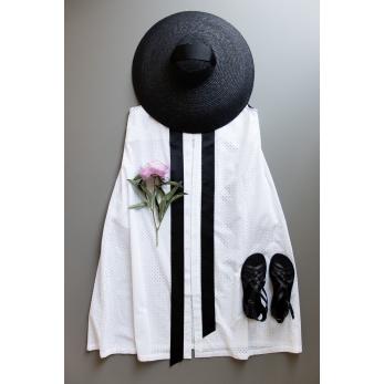 Robe longue nouée simple, coton ajouré blanc