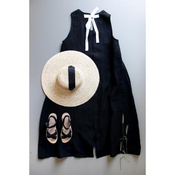 Robe longue nouée simple, lin noir