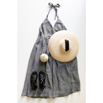 Robe longue à bretelles, lin gris