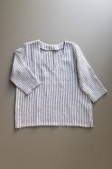 3/4 sleeves blouse V neck, light stripes linen