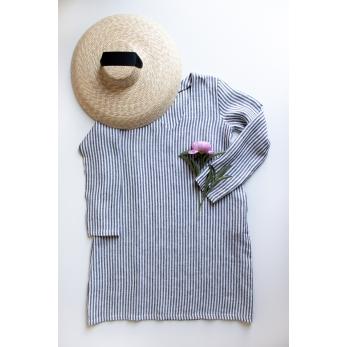 Flared dress, long sleeves, V neck, light stripes linen